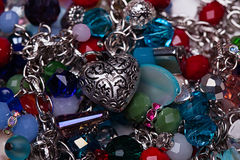 Various jewelry pendants and gems. Close-up Royalty Free Stock Photography