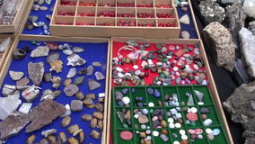 Various jewelry stones in  market. Various jewelry stones in street market stock video