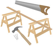 Various joinery. Vector illustration of claw hammer, nails, handsaw, trestles and plank of wood Stock Photography
