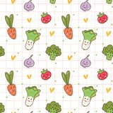 Various kawaii vegetables seamless pattern vector illustration