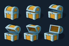 Various key frames animation of wooden chest or box. Vector cartoon pictures. Wood ancient box closed illustration royalty free illustration