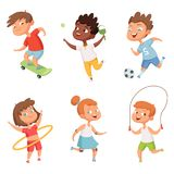 Various kids in active sports. Vector characters isolate on white background stock illustration