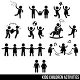 Various Kids & Children Activities & Playing Icon Symbol Sign Pictogram Royalty Free Stock Photography