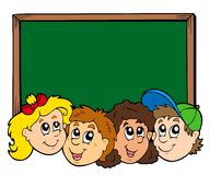 Various kids faces with blackboard Stock Images
