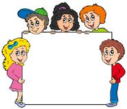 Various kids holding board Royalty Free Stock Image