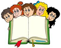 Various kids holding book Royalty Free Stock Photo