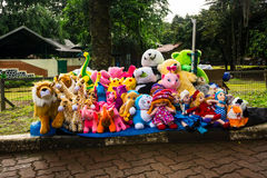 Various kind of animal dolls sells on side the street photo taken in Jakarta Indonesia Royalty Free Stock Photography