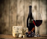 Various kind of cheese with wine royalty free stock photography