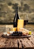 Various kind of cheese with wine royalty free stock photo