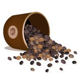 Various Kind of Coffee Beans Dropped from A Pail Royalty Free Stock Image