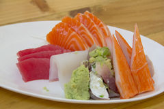 Various kind of fresh raw Sashimi. Various kind of fresh raw Sashimi photo royalty free stock images
