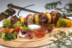 Various kind of meat on dagger Royalty Free Stock Images