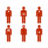 Various kind of sickness on people. Vector illustration of most common ill diseases represented on stylized men figures as stomachache, headache, respiratory Royalty Free Stock Image