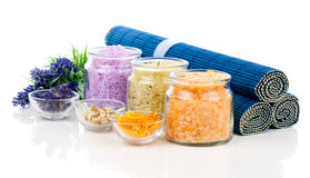 Various kinds of bath salt with flowers Stock Photos