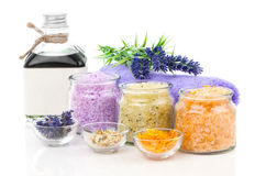 Various kinds of bath salt with flowers Royalty Free Stock Photography
