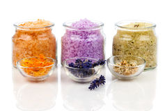 various kinds of bath salt with flowers Stock Images