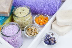 Various kinds of bath salt with flowers Stock Image