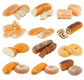Various kinds of bread on a white background stock photo