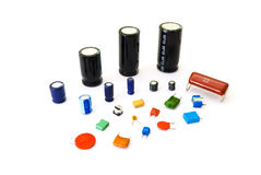 Various kinds of capacitors Royalty Free Stock Photos