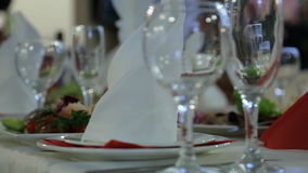 Various kinds of delicious food stand on table in banquet hall. stock video footage