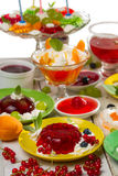 Various kinds of desserts made of jelly Stock Photos