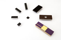 Various kinds of electronic chips. On the white background stock photography