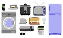 Various kinds of electronic goods. Various types of electronic goods available at home vector illustration