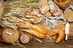 Various kinds of fresh baked bread with grain Stock Photography