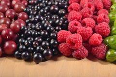 Various kinds of fresh berries close up Royalty Free Stock Photos
