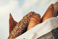 Various kinds of fresh bread. Shallow depth of field. Royalty Free Stock Photography