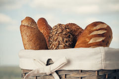 Various kinds of fresh bread. Shallow depth of field. Royalty Free Stock Photo