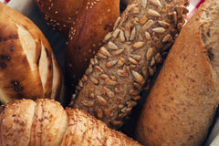 Various kinds of fresh bread. Shallow depth of field. Royalty Free Stock Photos