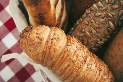 Various kinds of fresh bread. Shallow depth of field. Royalty Free Stock Images