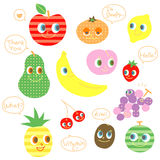 Various kinds of fruit, speaking characters Stock Image
