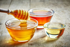 Various kinds of honey. In a glass bowls royalty free stock photography