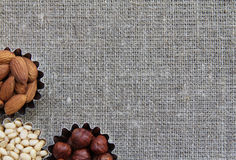 Various kinds of nuts on fabric texture. Abstract image of nuts on fabric texture Stock Images