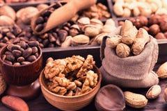 Various kinds of nuts stock photos