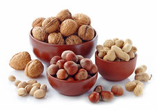 Various kinds of nuts Royalty Free Stock Photography