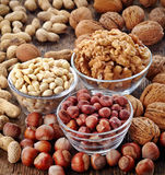 Various kinds of nuts Royalty Free Stock Photos