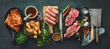 Free Various Kinds Of Grill And Bbq Meats With Vintage Kitchen And Butcher Utensils Stock Photos - 143606123