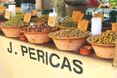 Collection of Mediterranean olives at a rustic market, Mallorca, Spain Royalty Free Stock Images