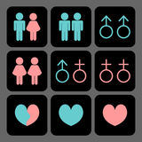 Various kinds of relationships icons Stock Photos