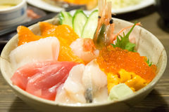Various kinds of sashimi raw fish rice bowl in Japan Royalty Free Stock Photography