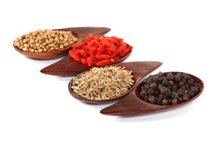 Various kinds of spices - Coriander Seed, Goji Berry,Cumin,Black Stock Images