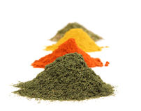 Various kinds of spices on white Stock Images