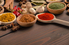 Various kinds of spices on wooden table Royalty Free Stock Photos