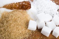 Various kinds of sugar close up Stock Photo