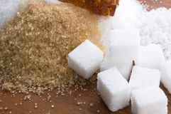 Various kinds of sugar close up Royalty Free Stock Images