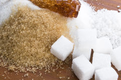 Various kinds of sugar close up Stock Photo