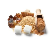 Various kinds of sugar. On white background stock photo